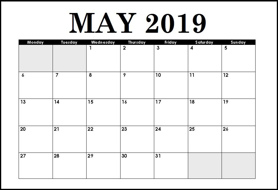 White Paper May 2019 Blank Calendar