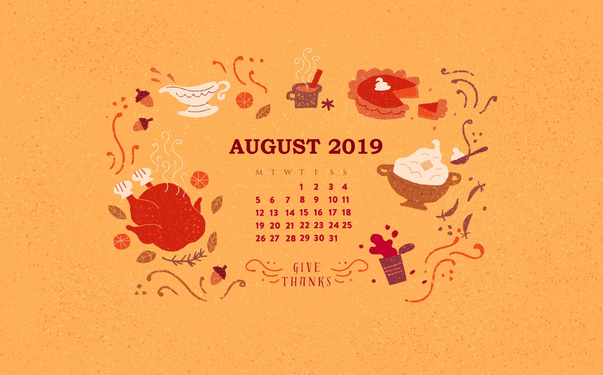 August 2019 Calendar Screensaver