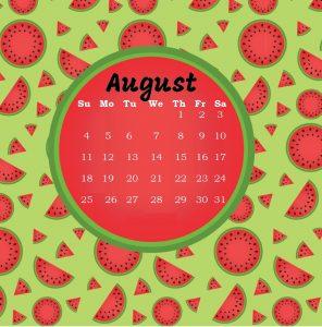 August 2019 Cute Calendar Design