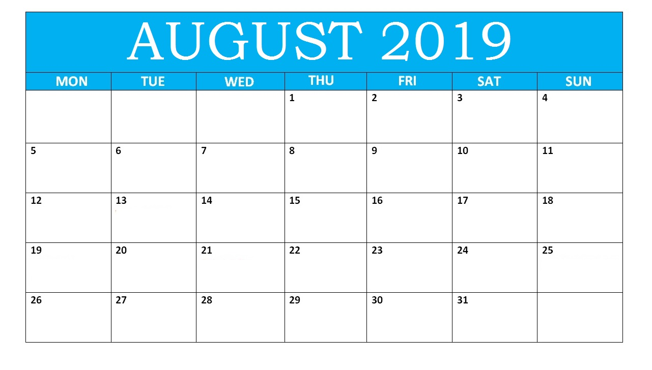 August Calendar 2019 With Notes