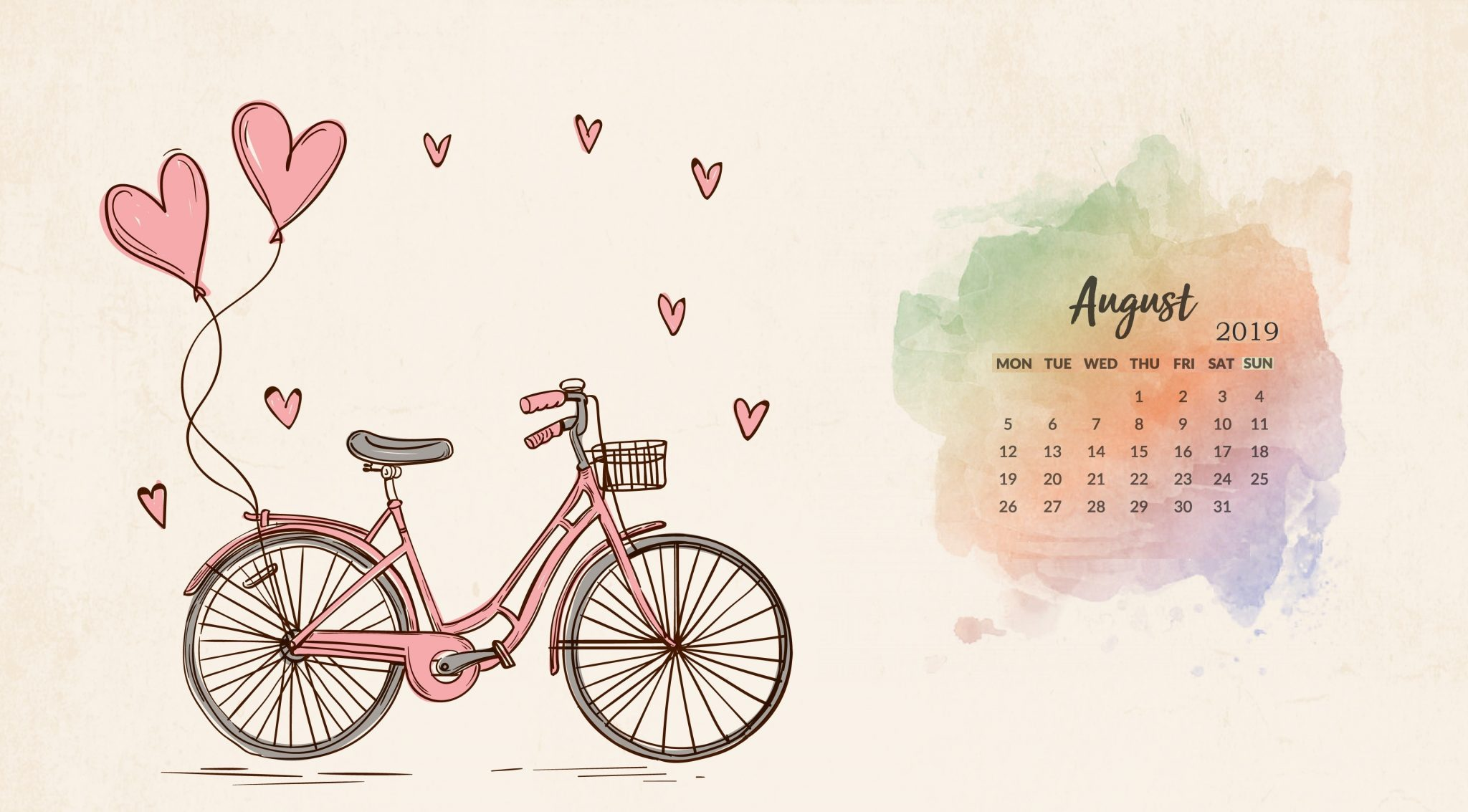Beautiful August 2019 Calendar Wallpaper