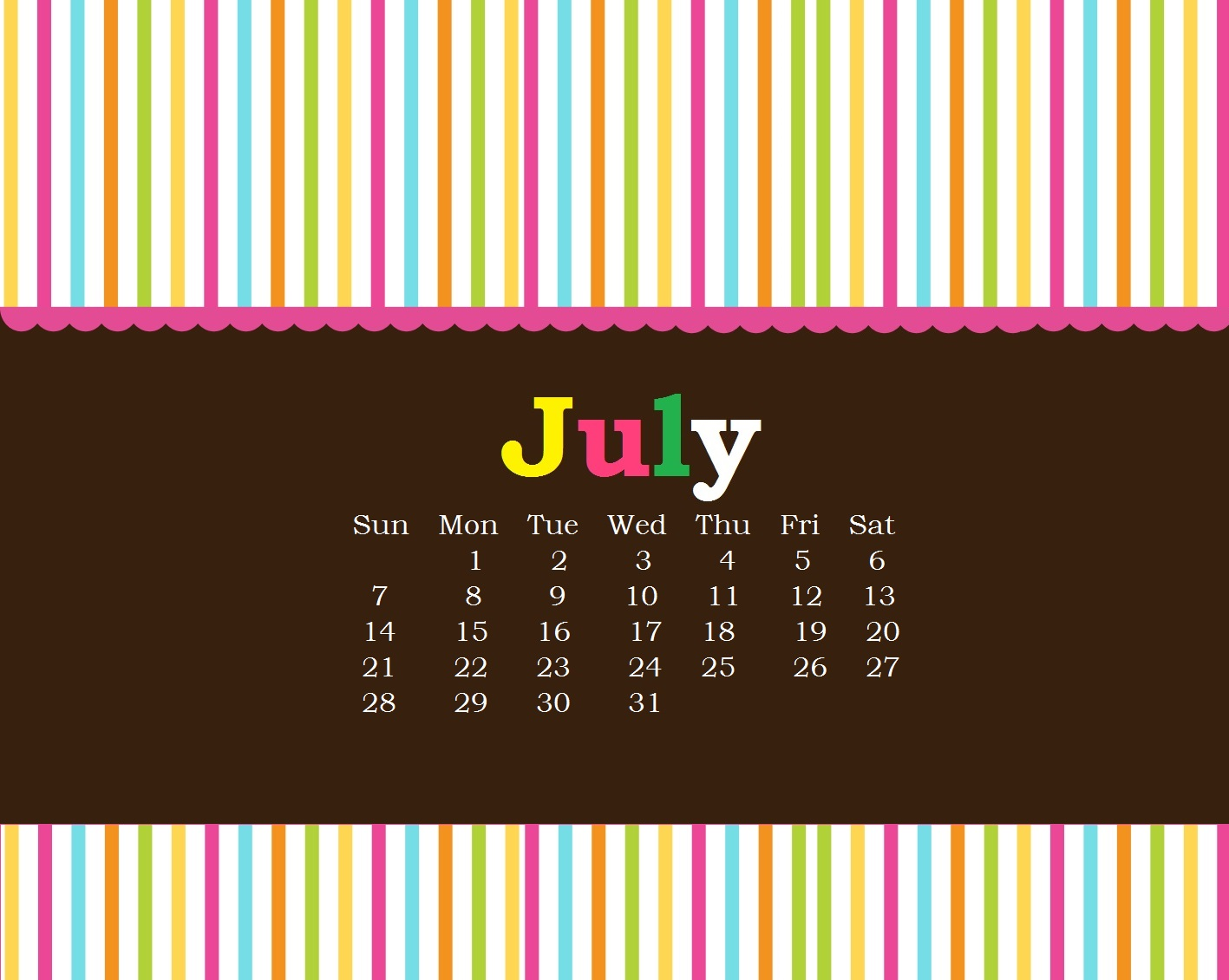 Beautiful July 2019 Calendar Wallpaper