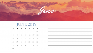 Beautiful June 2019 Desk Calendar