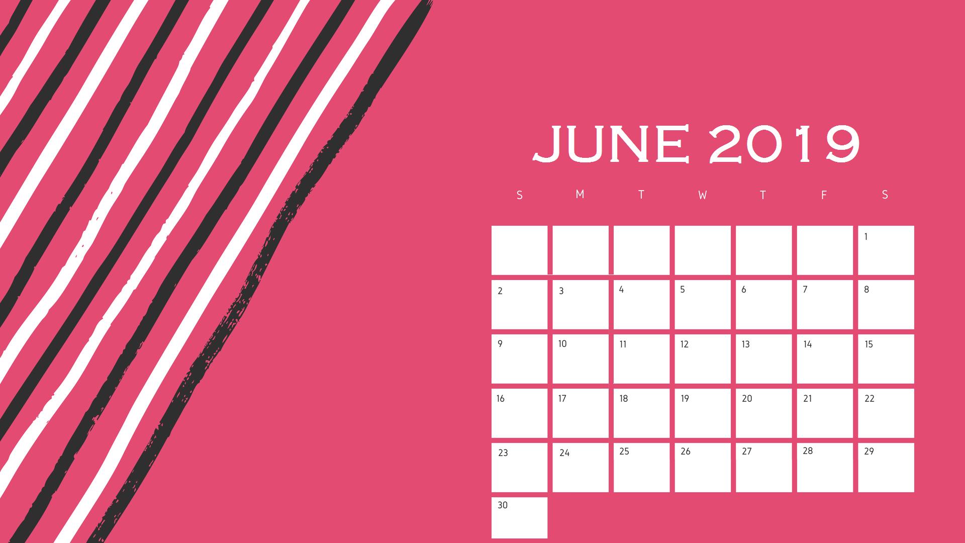 Best June 2019 Calendar Design