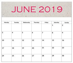 Blank June 2019 Monthly Organizer