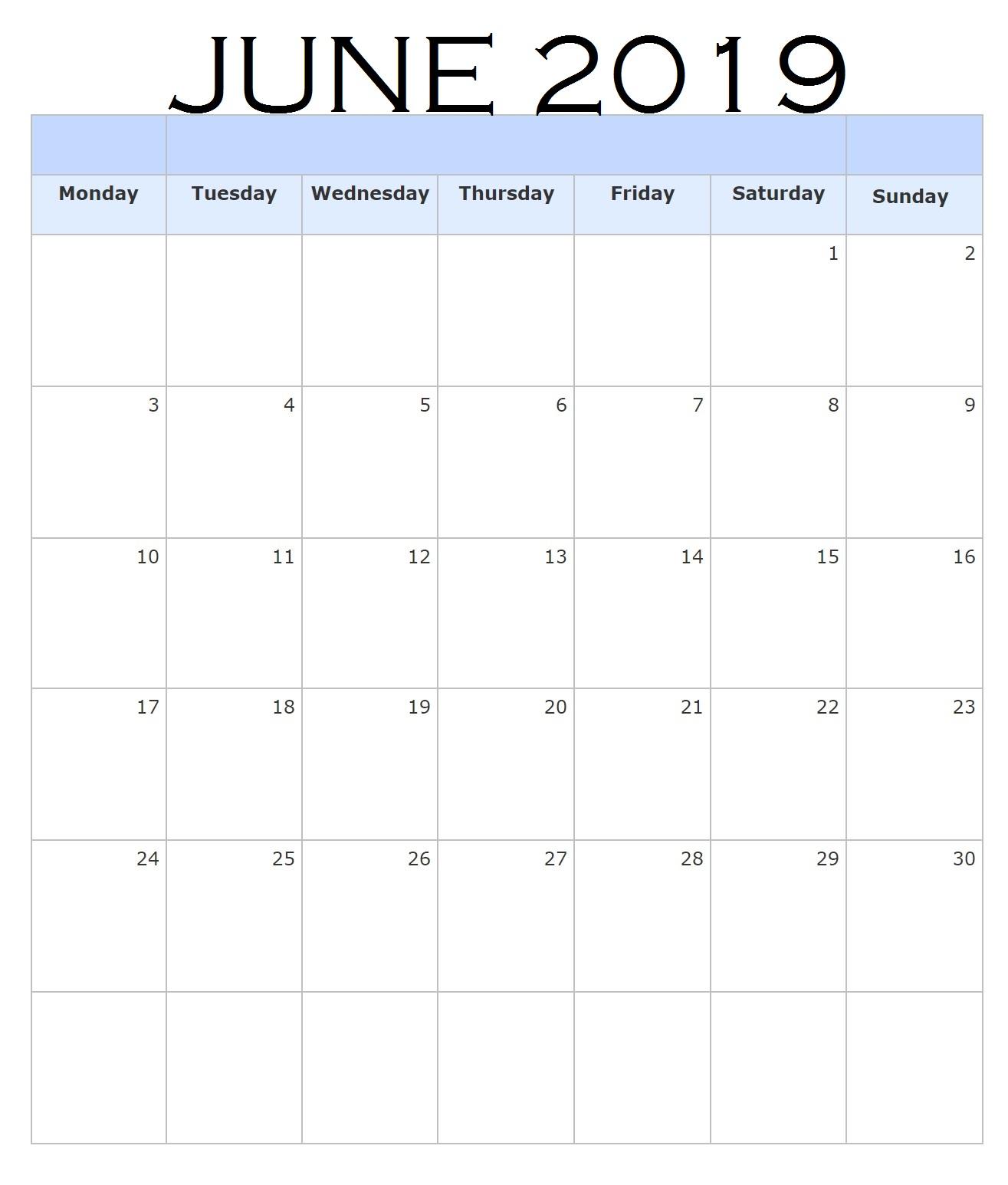 Blank June 2019 Portrait Calendar