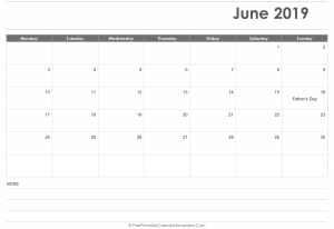Blank May 2019 Editable Calendar with Holidays