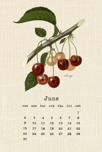 Botanical June 2019 Calendar Design