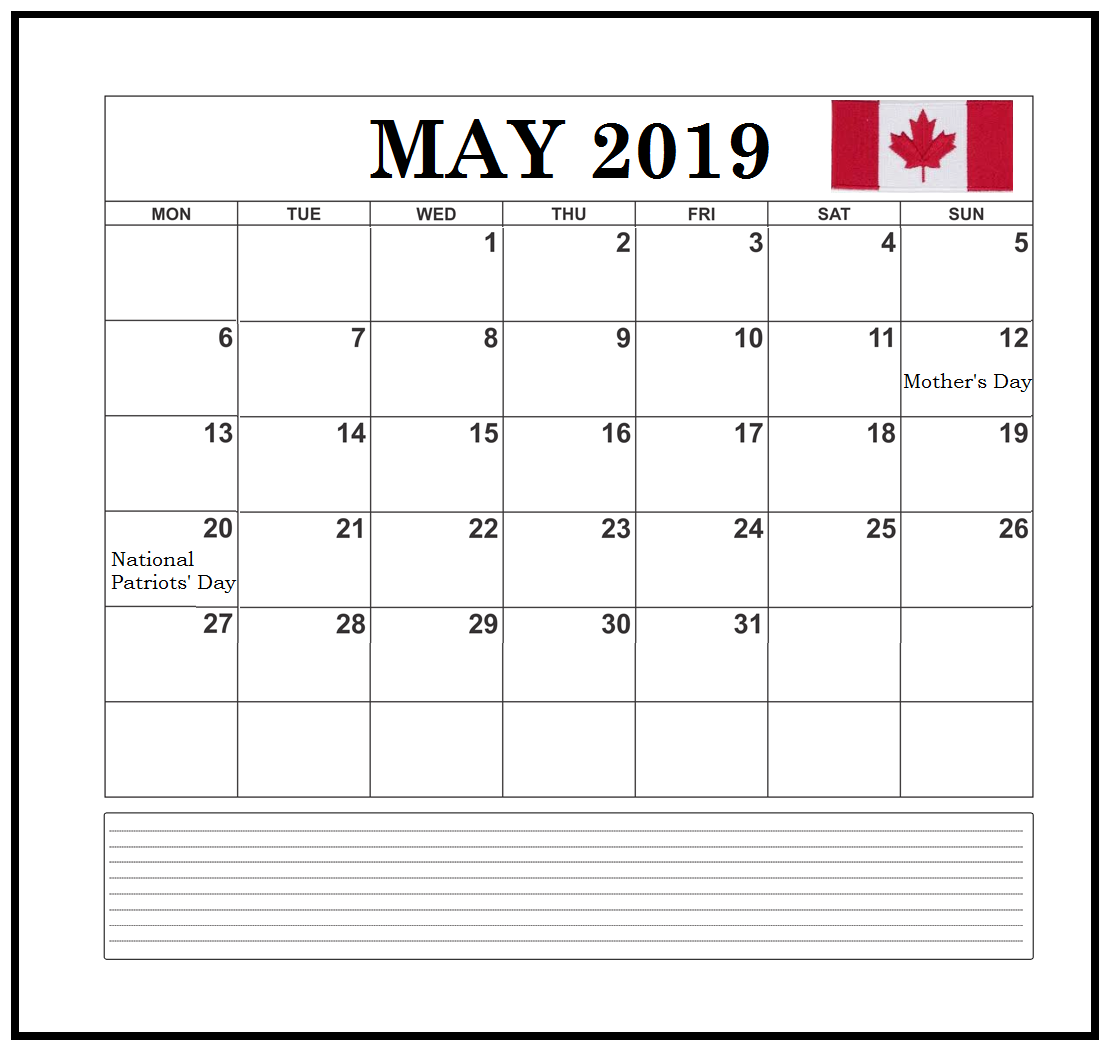 Canada May 2019 Bank Holidays
