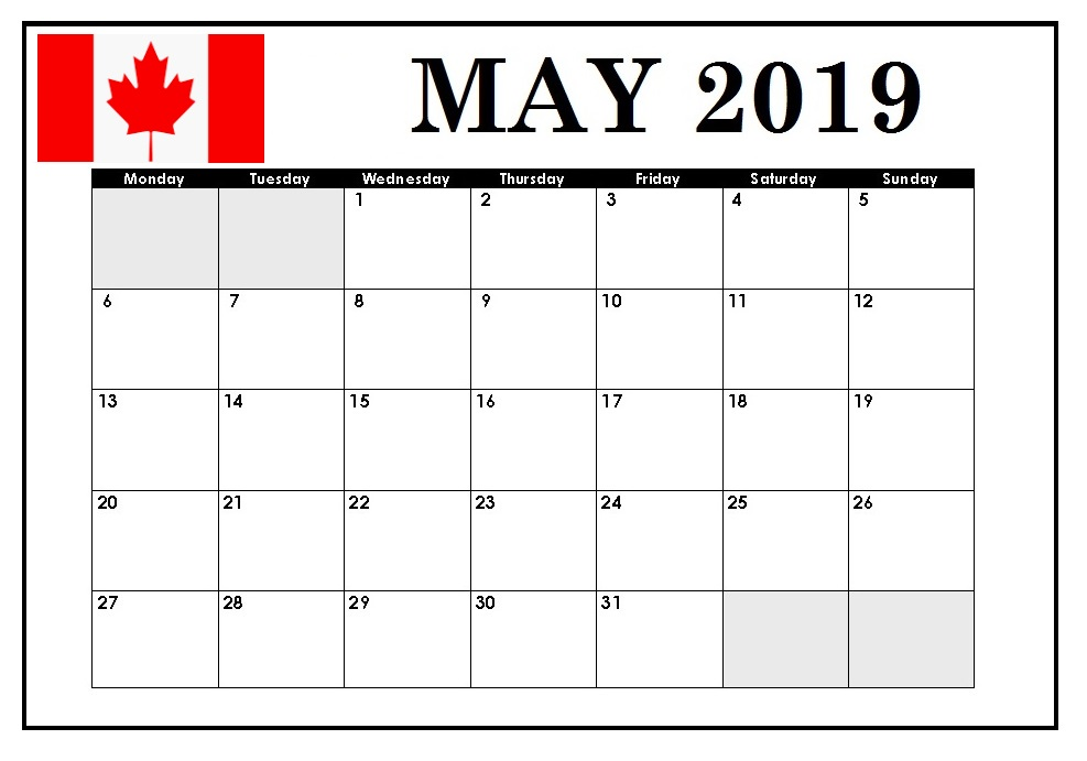 Canada May 2019 Local Holidays Calendar