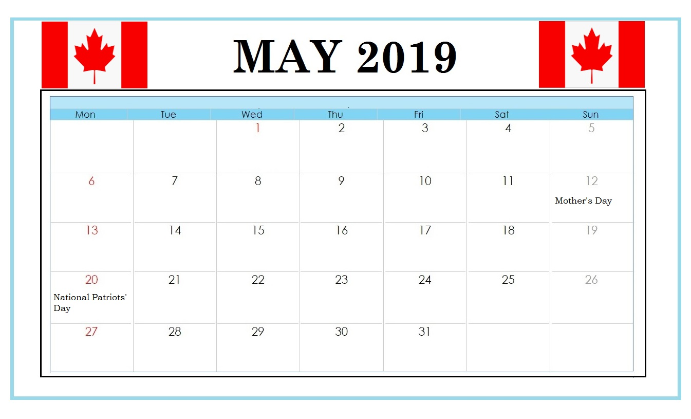 Canada May 2019 National Holidays