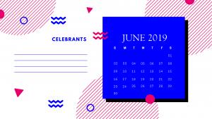 Cute 2019 June Calendar