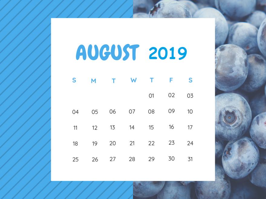 Cute August Calendar 2019