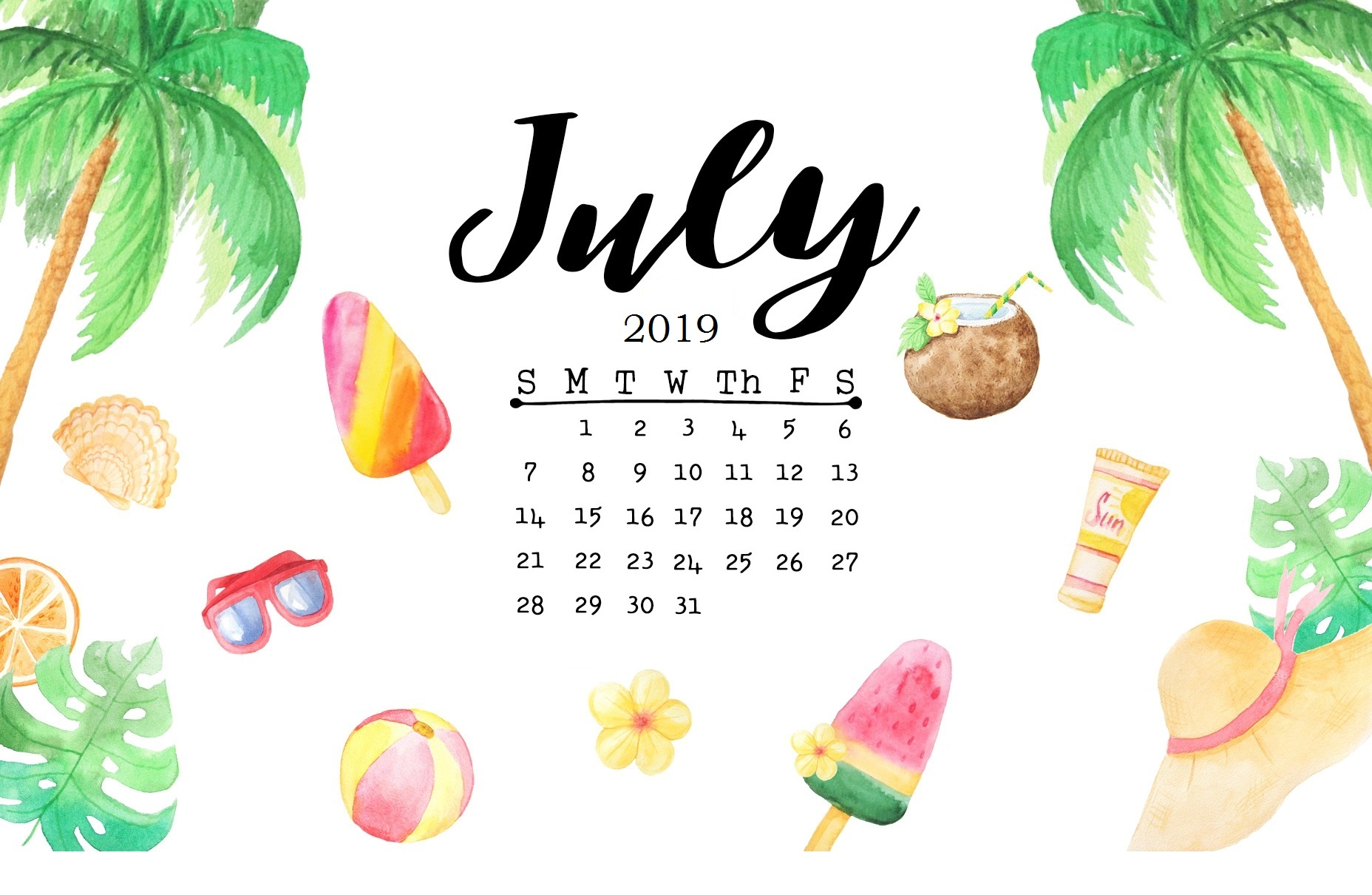 Cute July 2019 Calendar Wallpaper