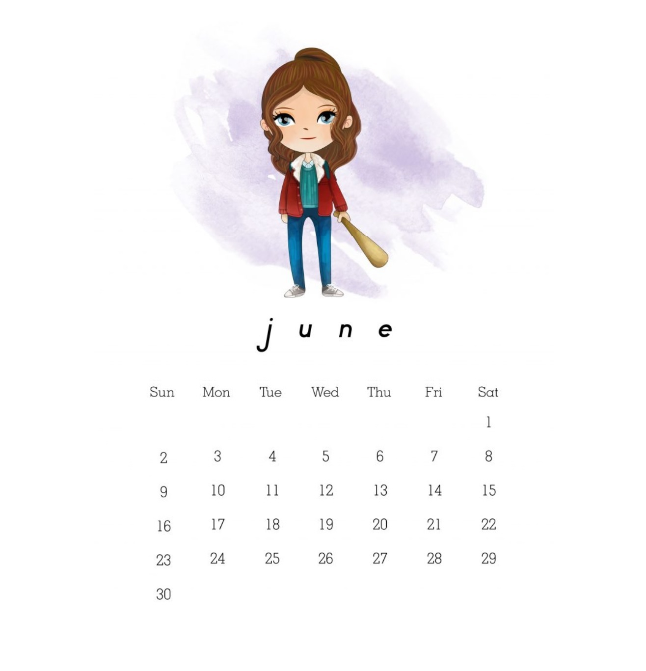 Cute June 2019 Calendar Templates