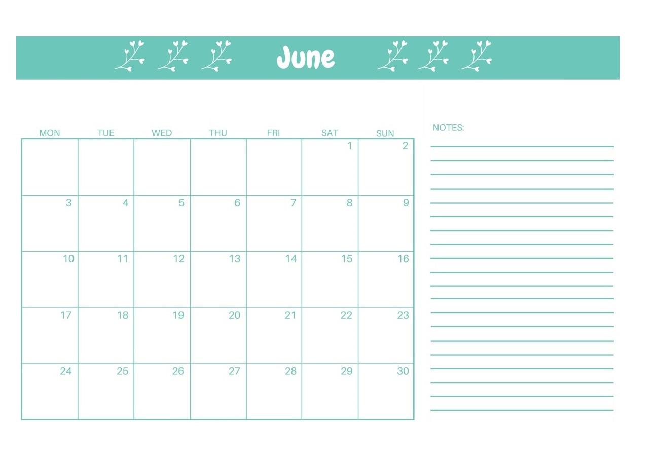 Cute June 2019 Editable Template