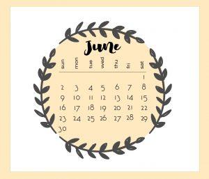 Cute June 2019 Floral Calendar