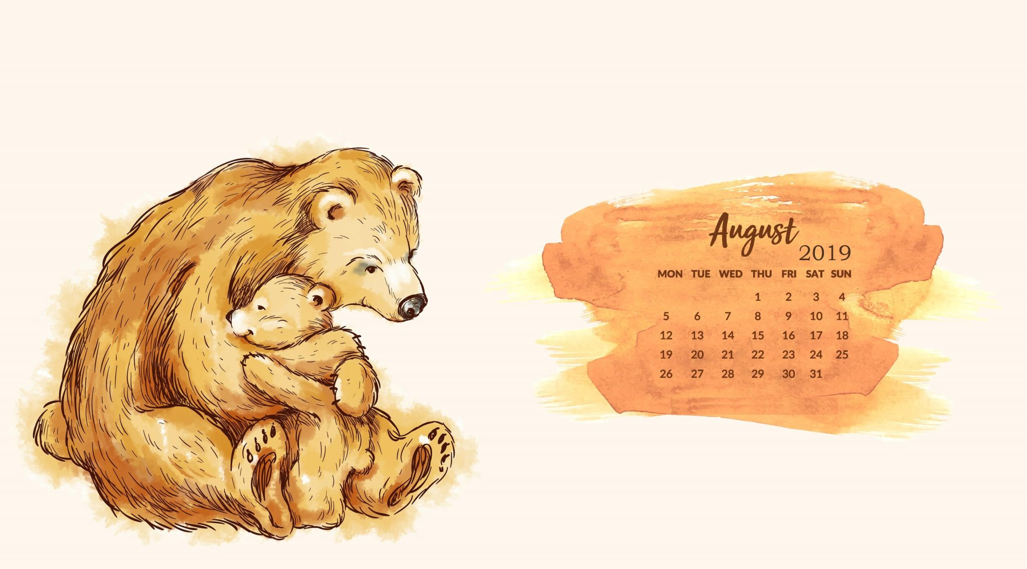 Download August 2019 Calendar Wallpaper
