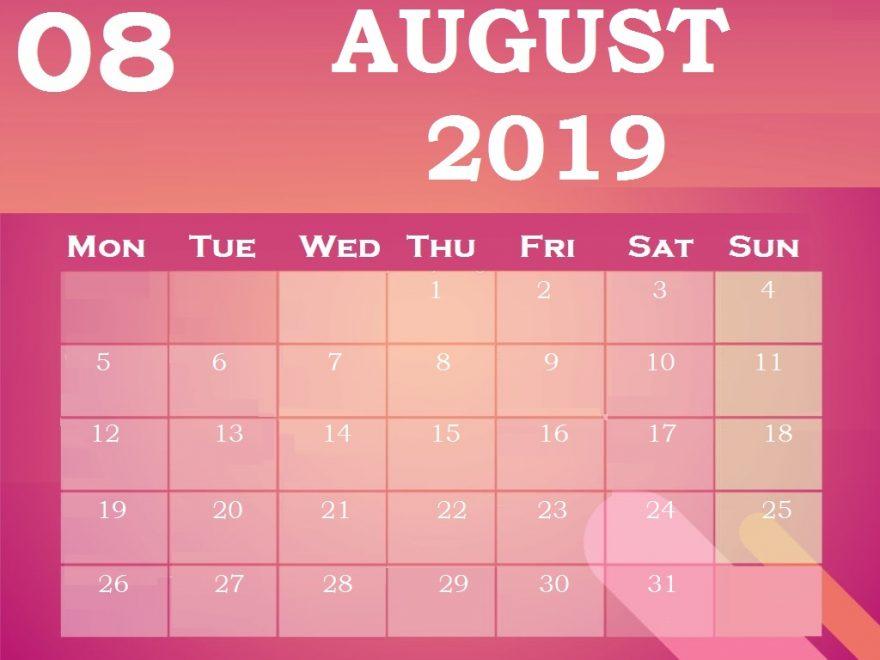 Download Best August 2019 Calendar Design