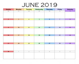 Download June 2019 Excel Template