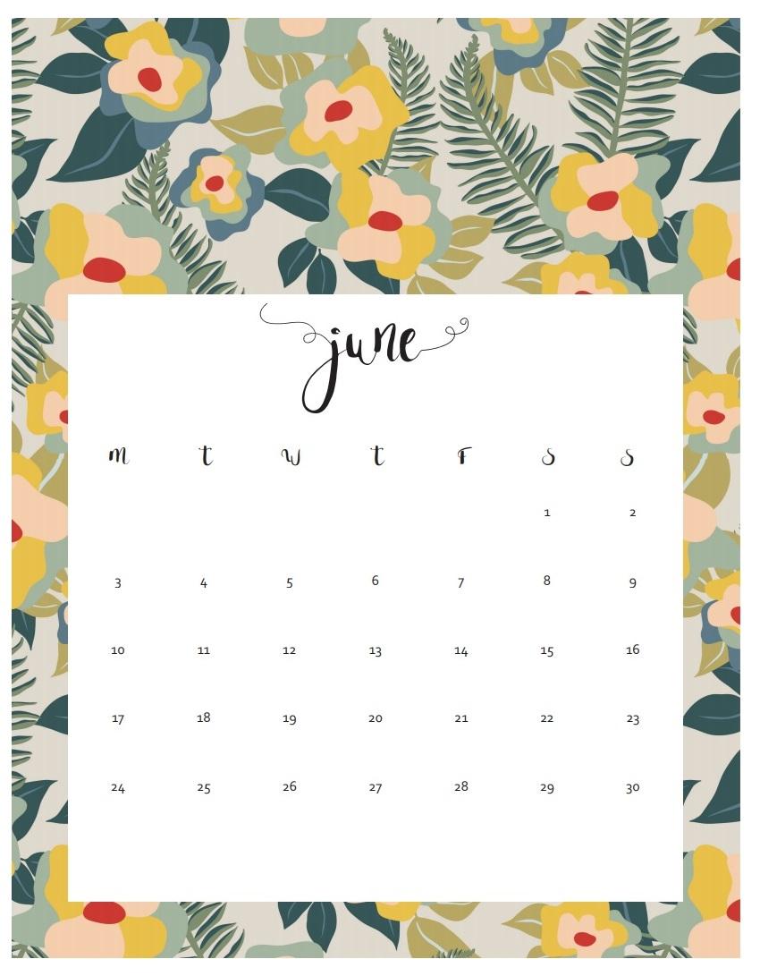Elegant June 2019 Calendar Design