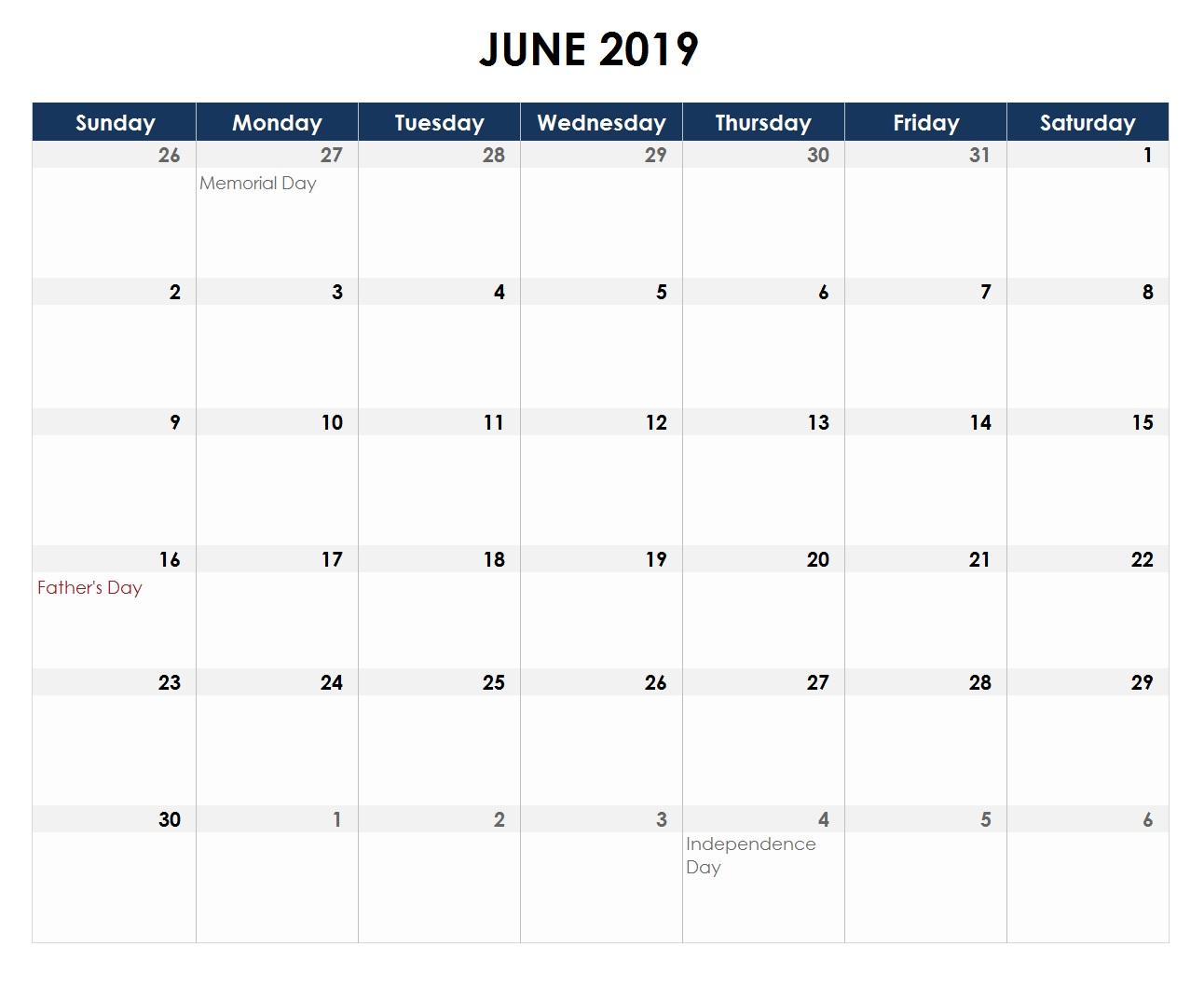 Excel Calendar June 2019