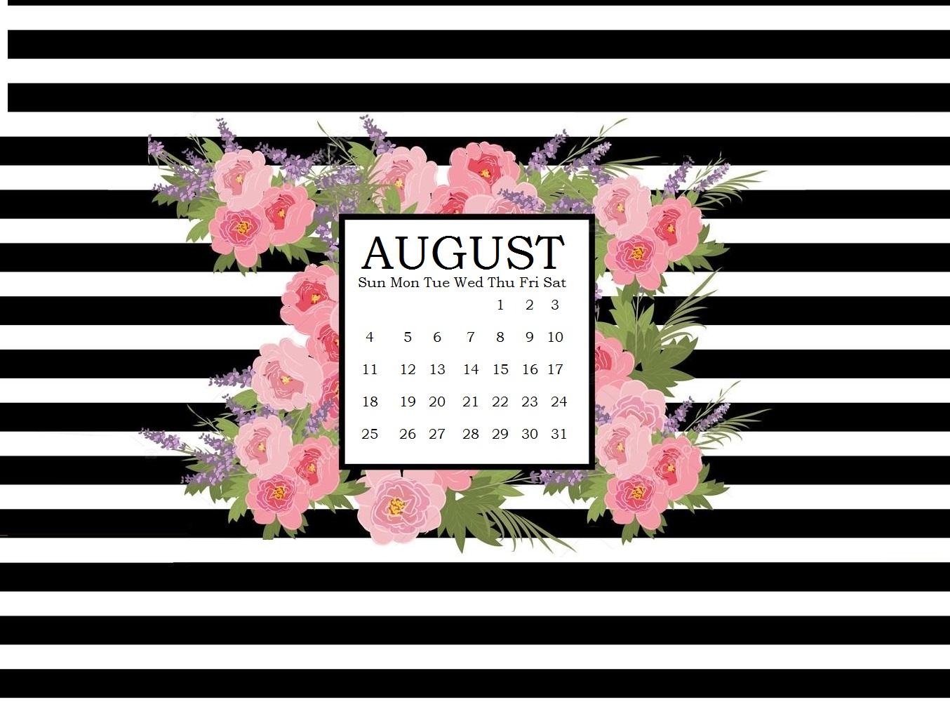 Floral August 2019 Calendar Wallpaper
