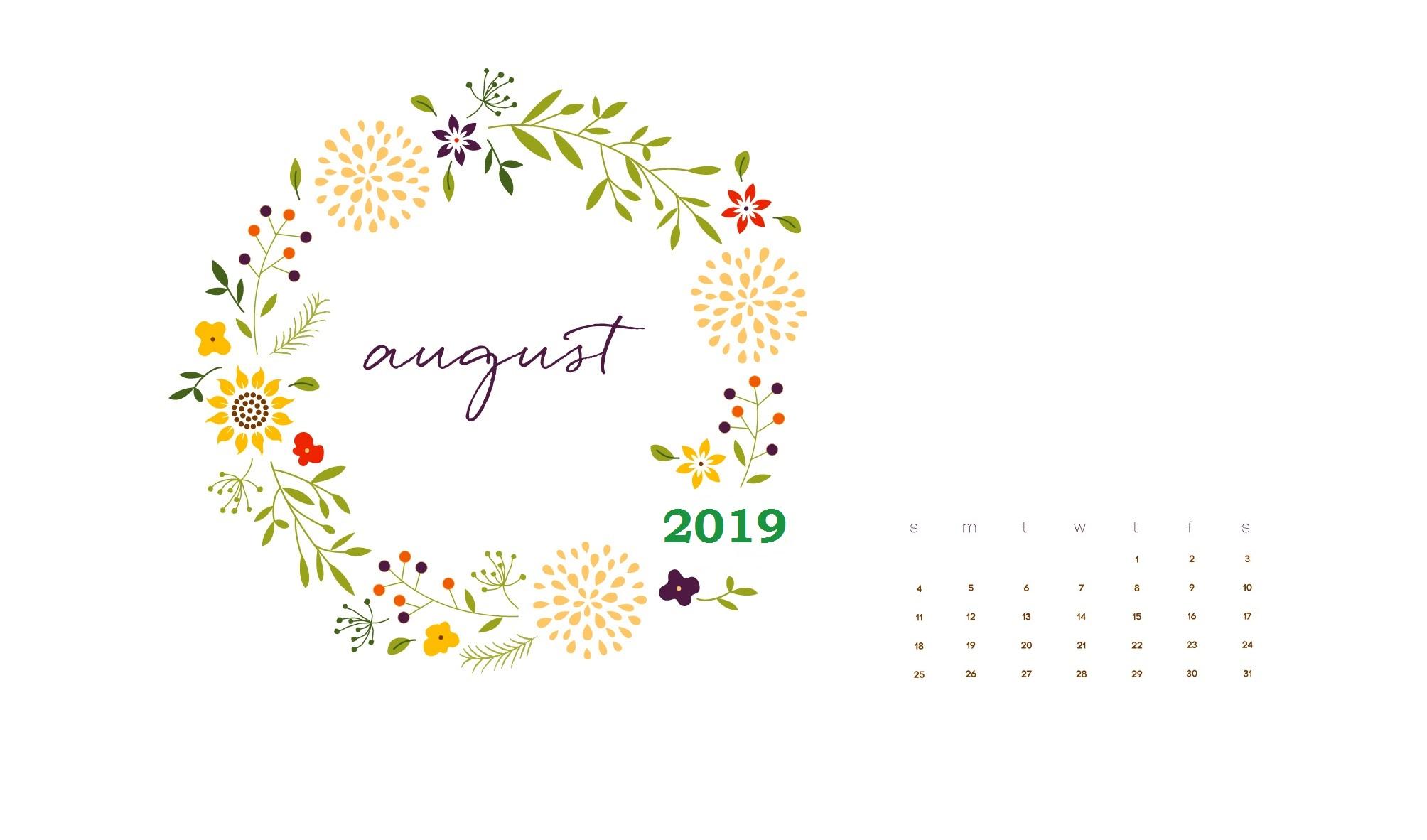 Floral August 2019 Calendar