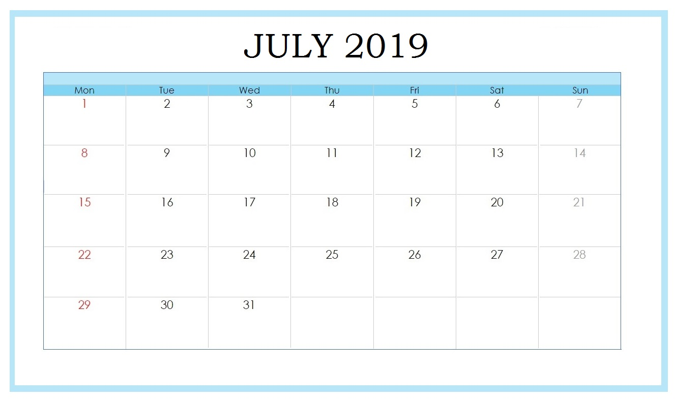 Free July 2019 Printable Template