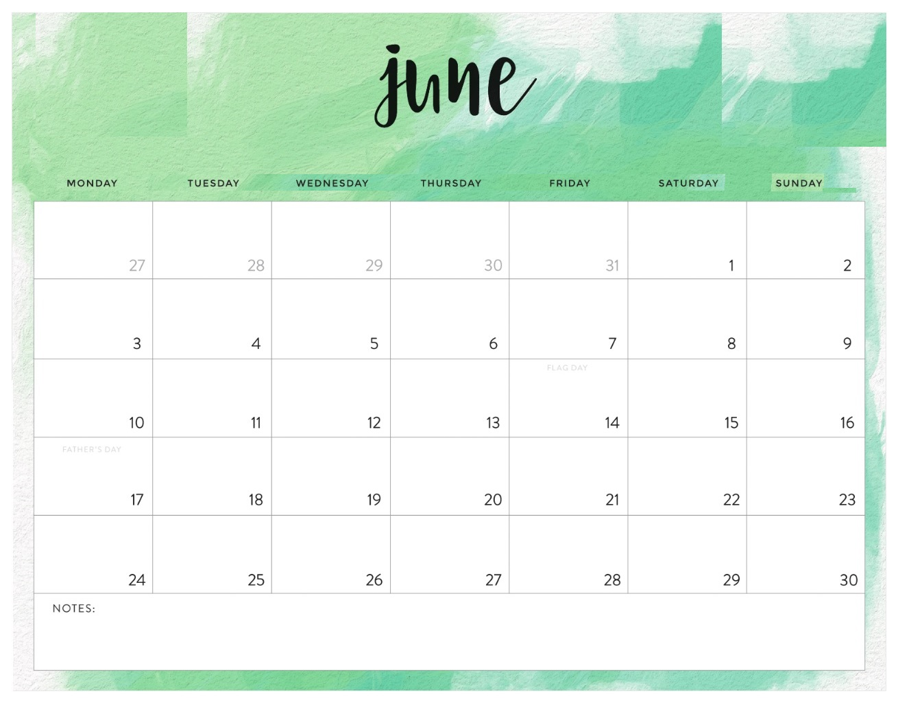 Free June 2019 Editable Calendar