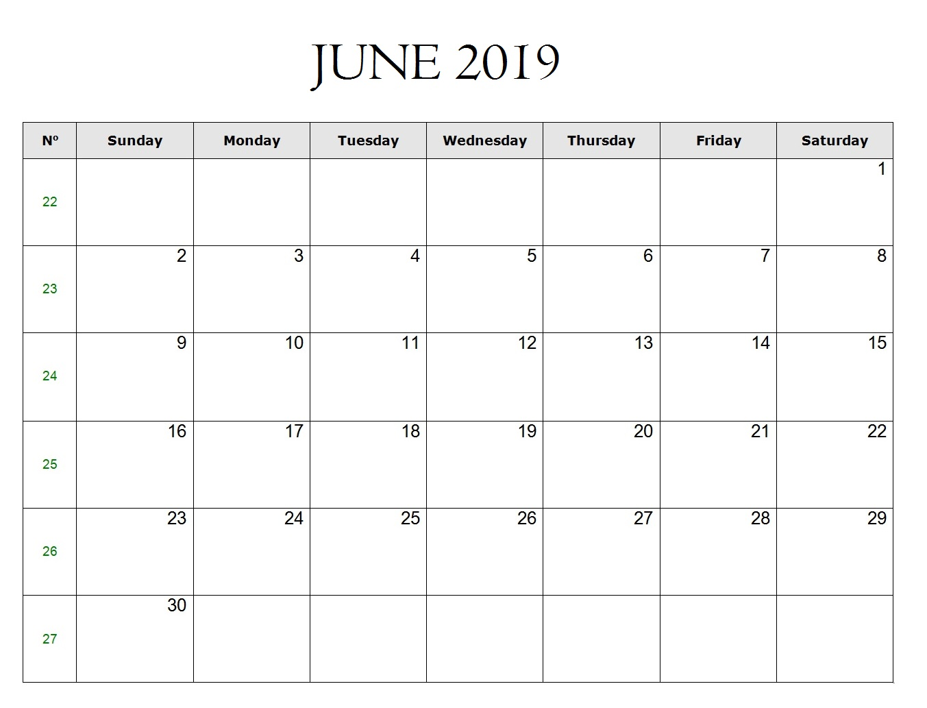 Free June 2019 Excel Template