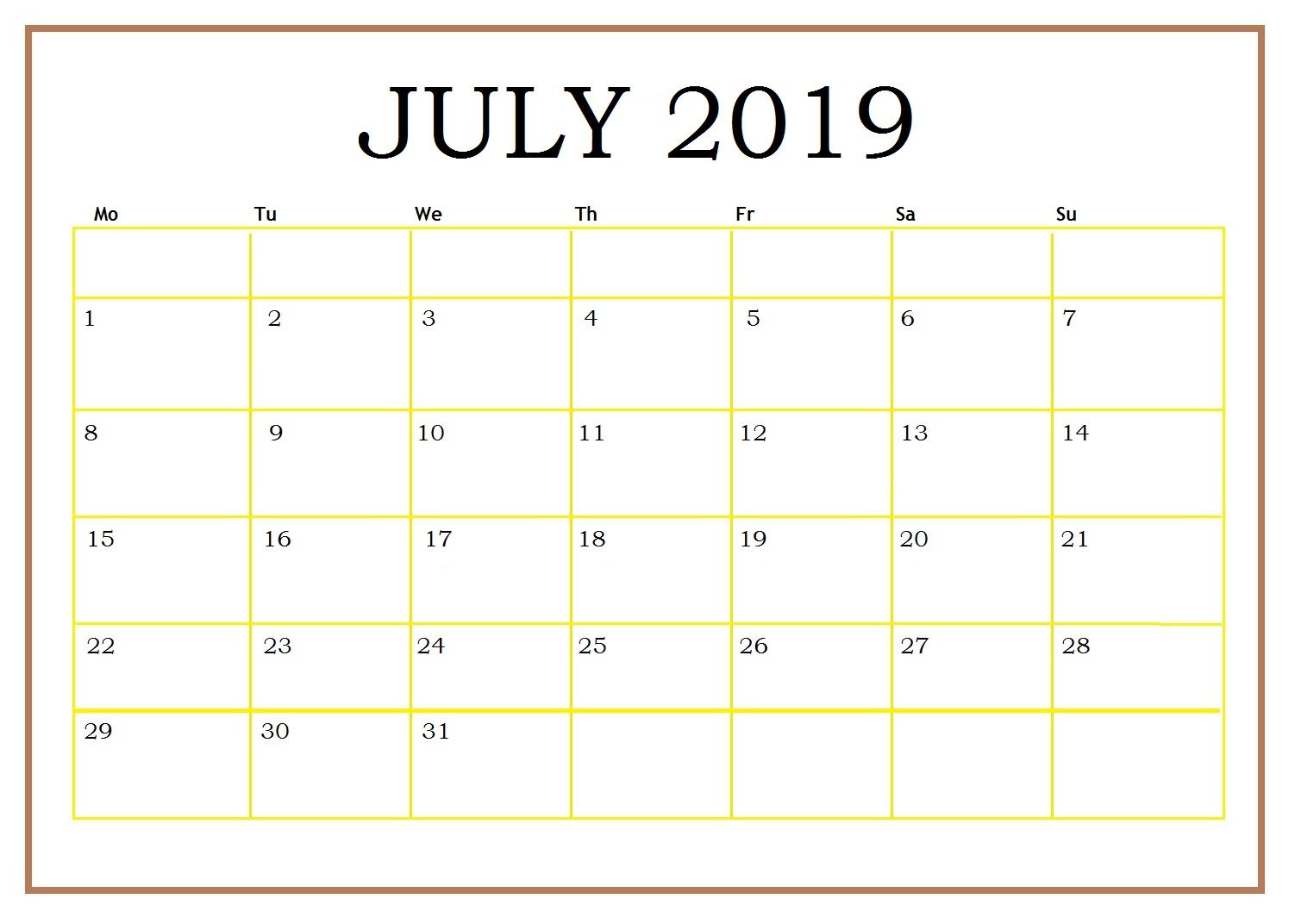 Free Printable July 2019 Blank Calendar