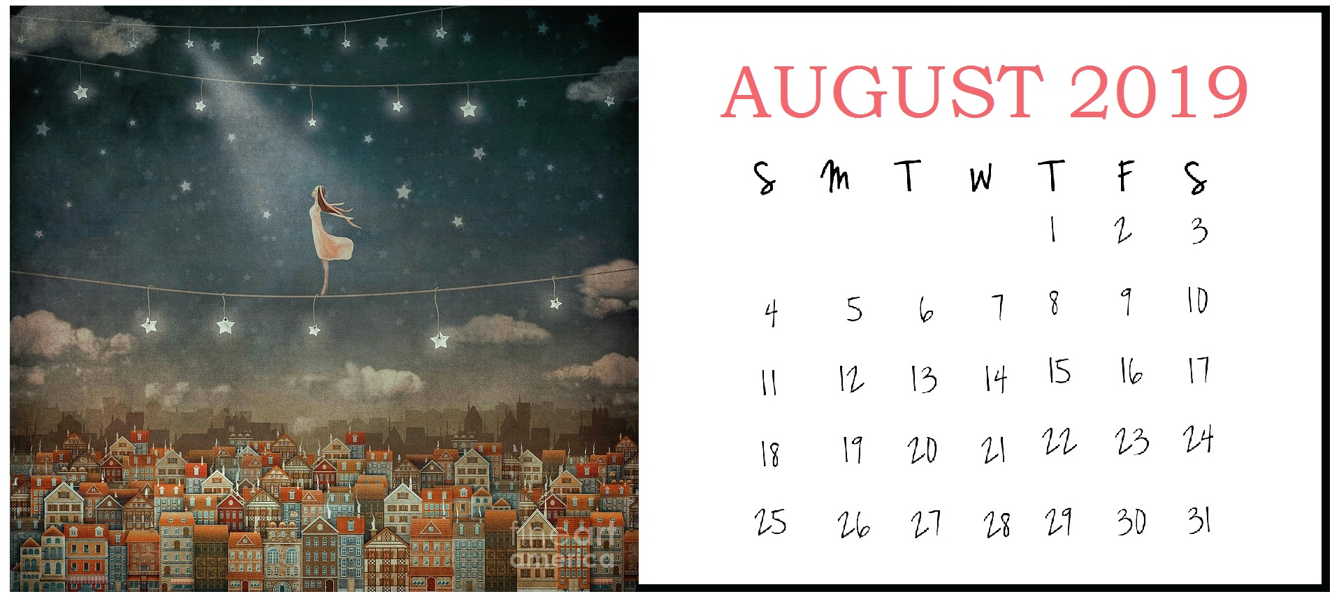 Illustration August 2019 Calendar Design