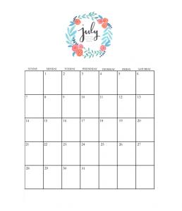 Inspiring July 2019 Calendar For Wall