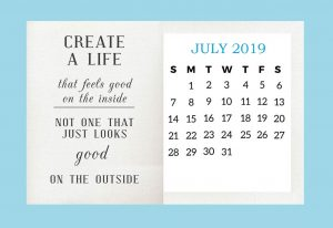 Inspiring July 2019 Quotes Desk Calendar