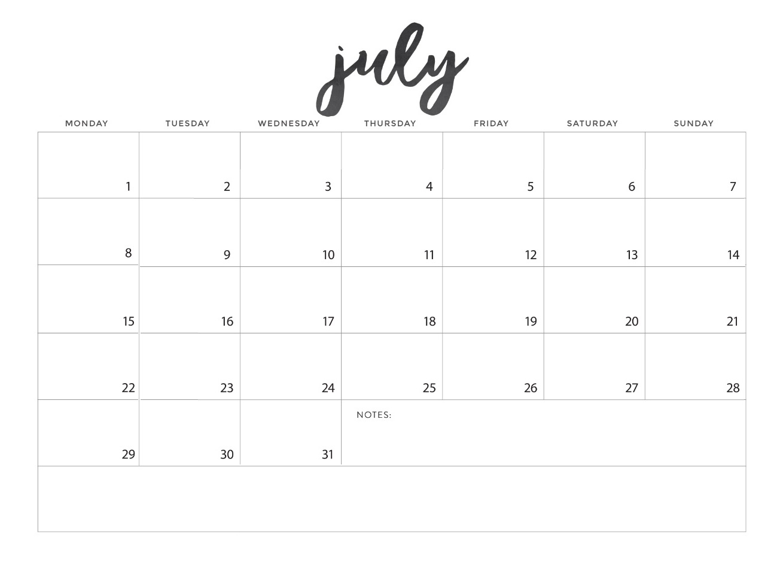 July 2019 Calendar To Print