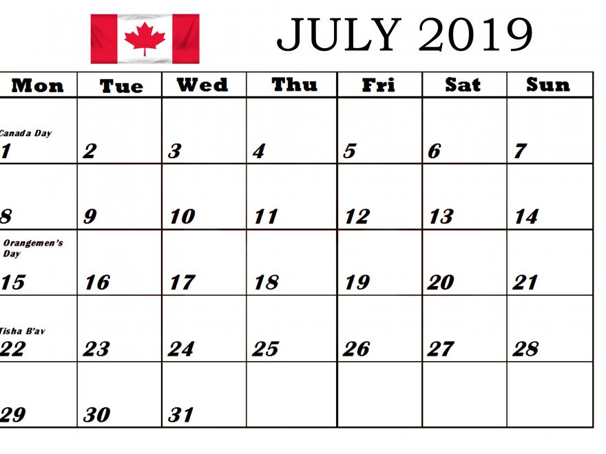 July 2019 Canada Federal Holidays
