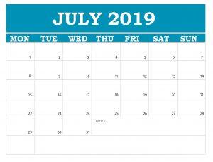 July 2019 Desk Calendar Free Download