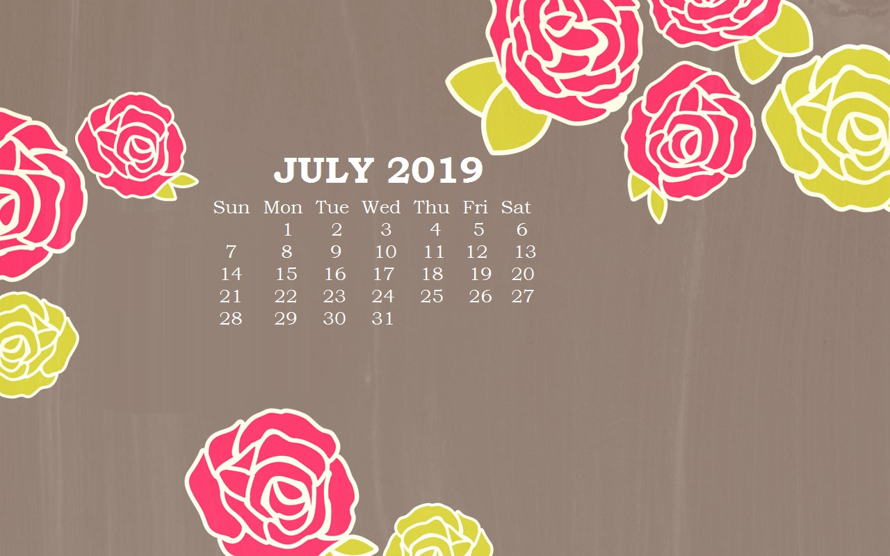 July 2019 Floral Calendar Wallpaper