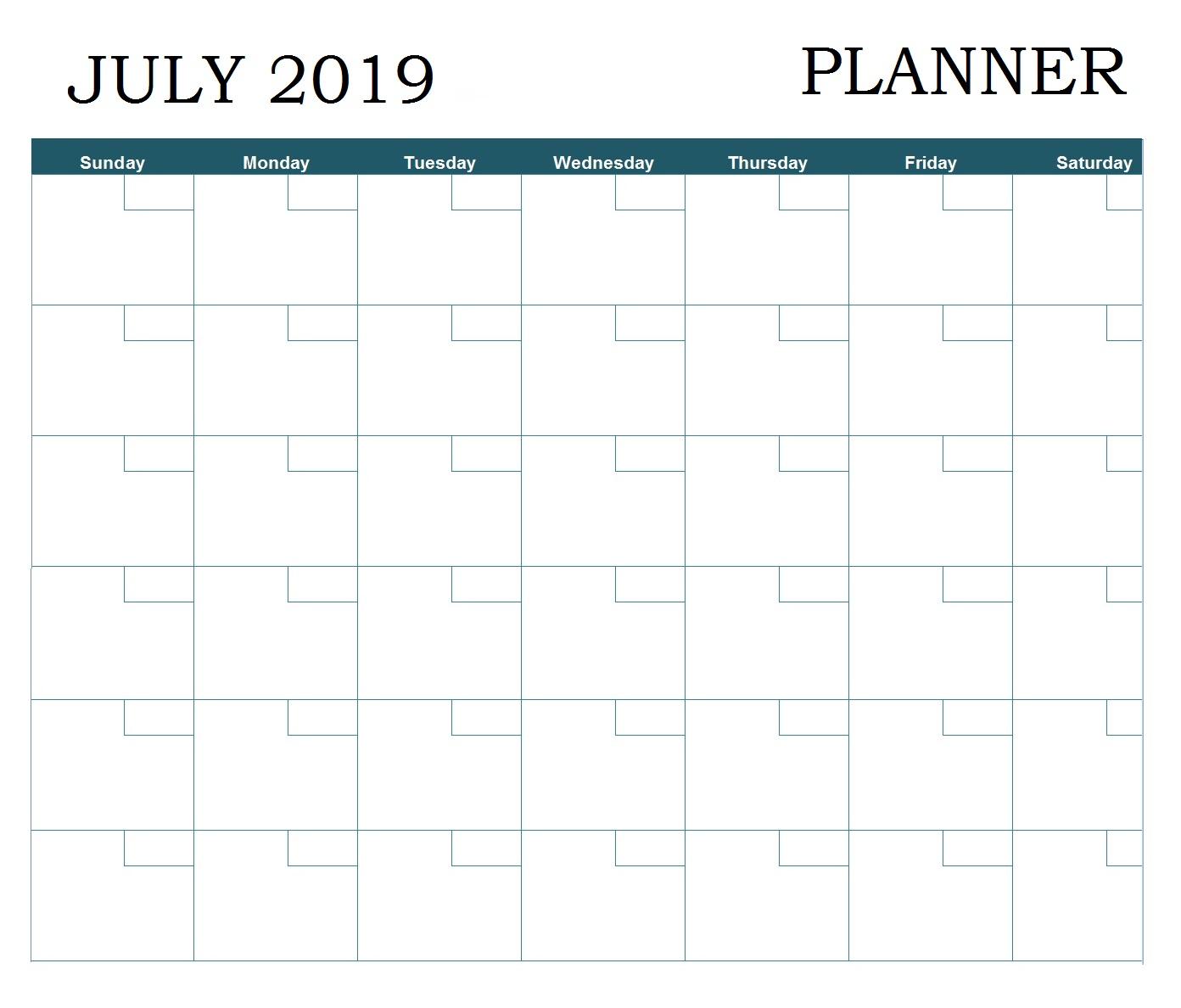 July 2019 Printable Planner