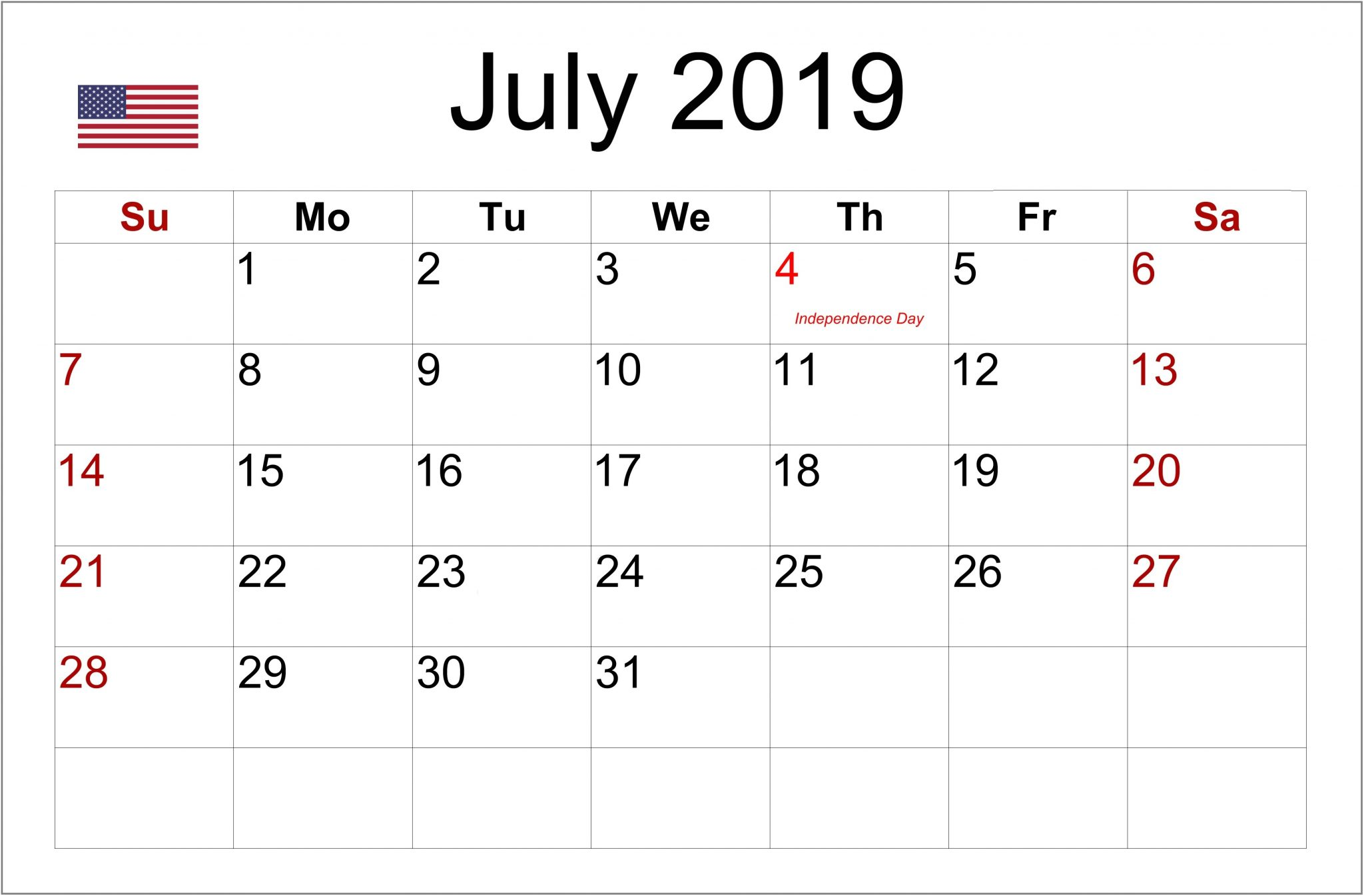 July 2019 Public Holidays Calendar USA