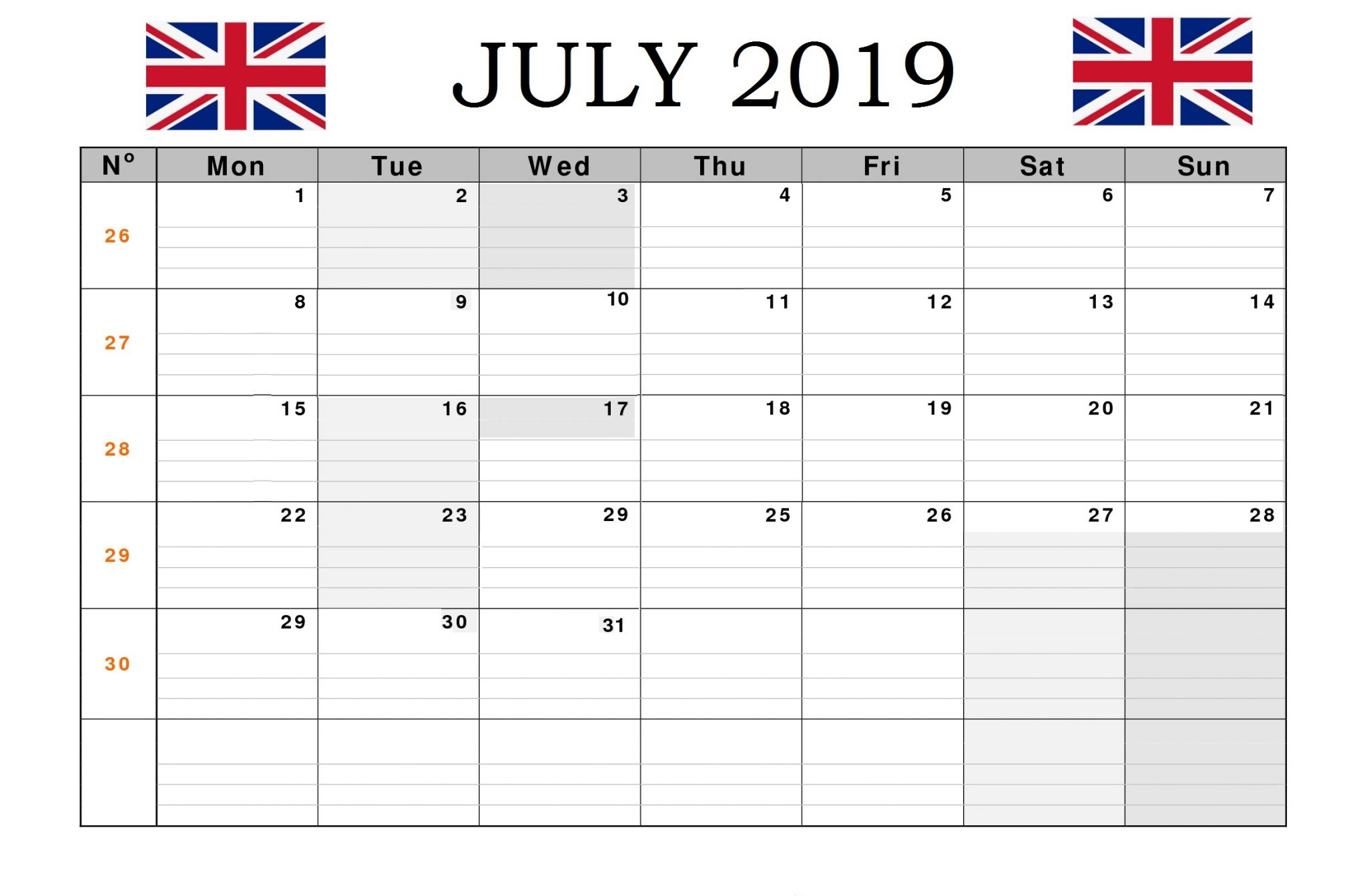 July 2019 UK Bank Holidays Calendar