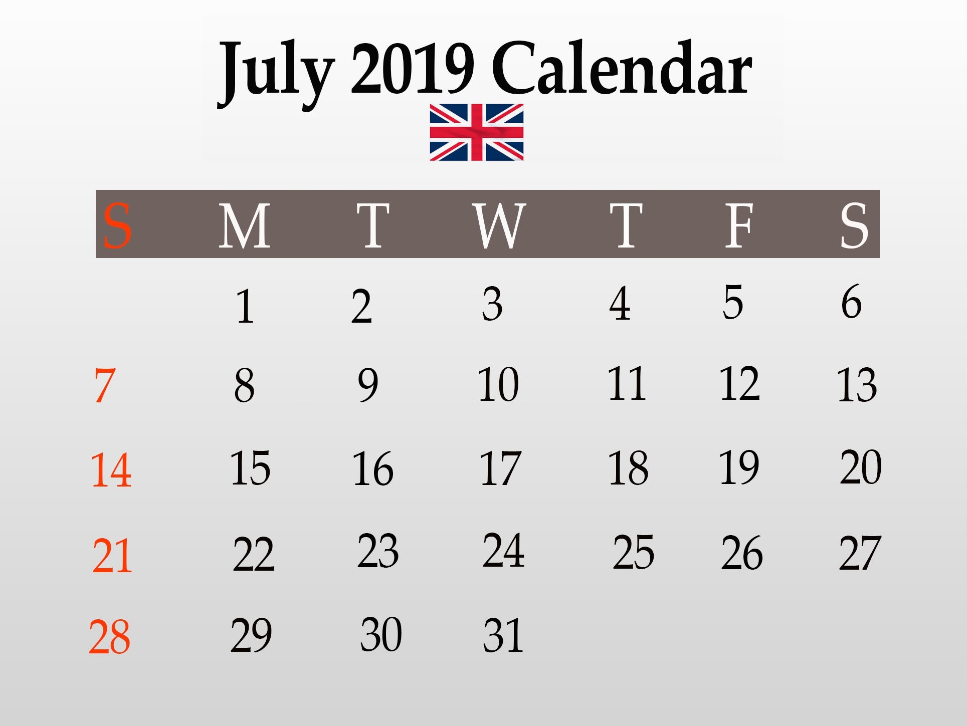 July 2019 UK Federal Holidays Calendar