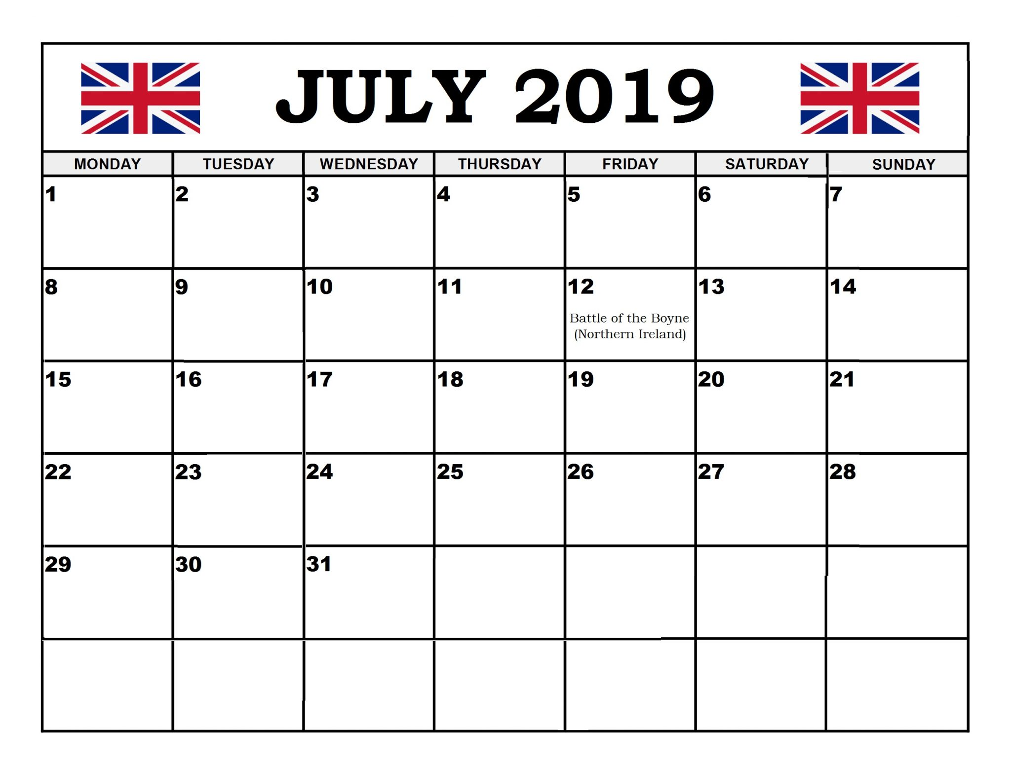 July 2019 United Kingdom Holidays