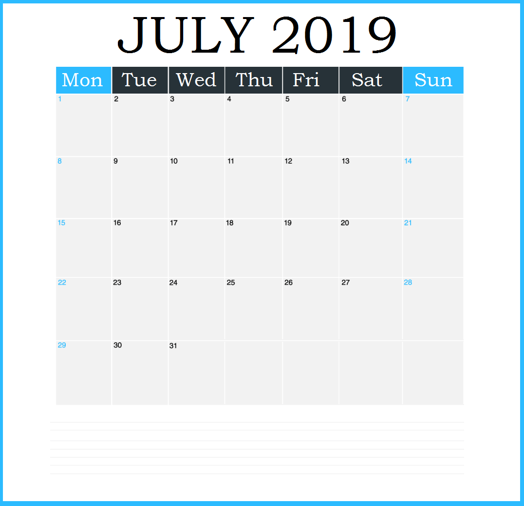 July 2019 Vertical Printable Calendar