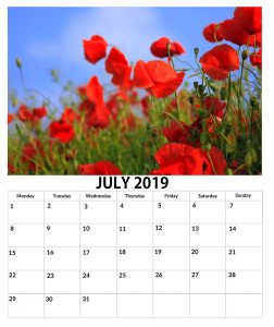July 2019 Wall Floral Calendar