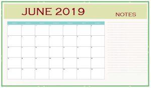 June 2019 Blank Editable Calendar