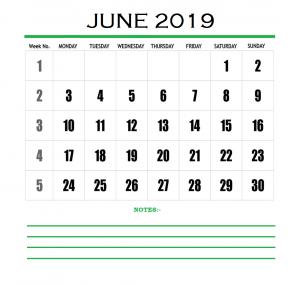 June 2019 Blank Planner Template