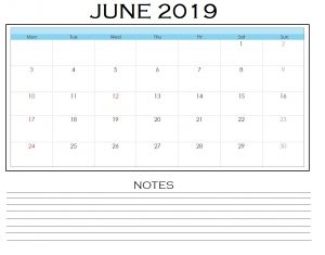 June 2019 Blank Template With Notes