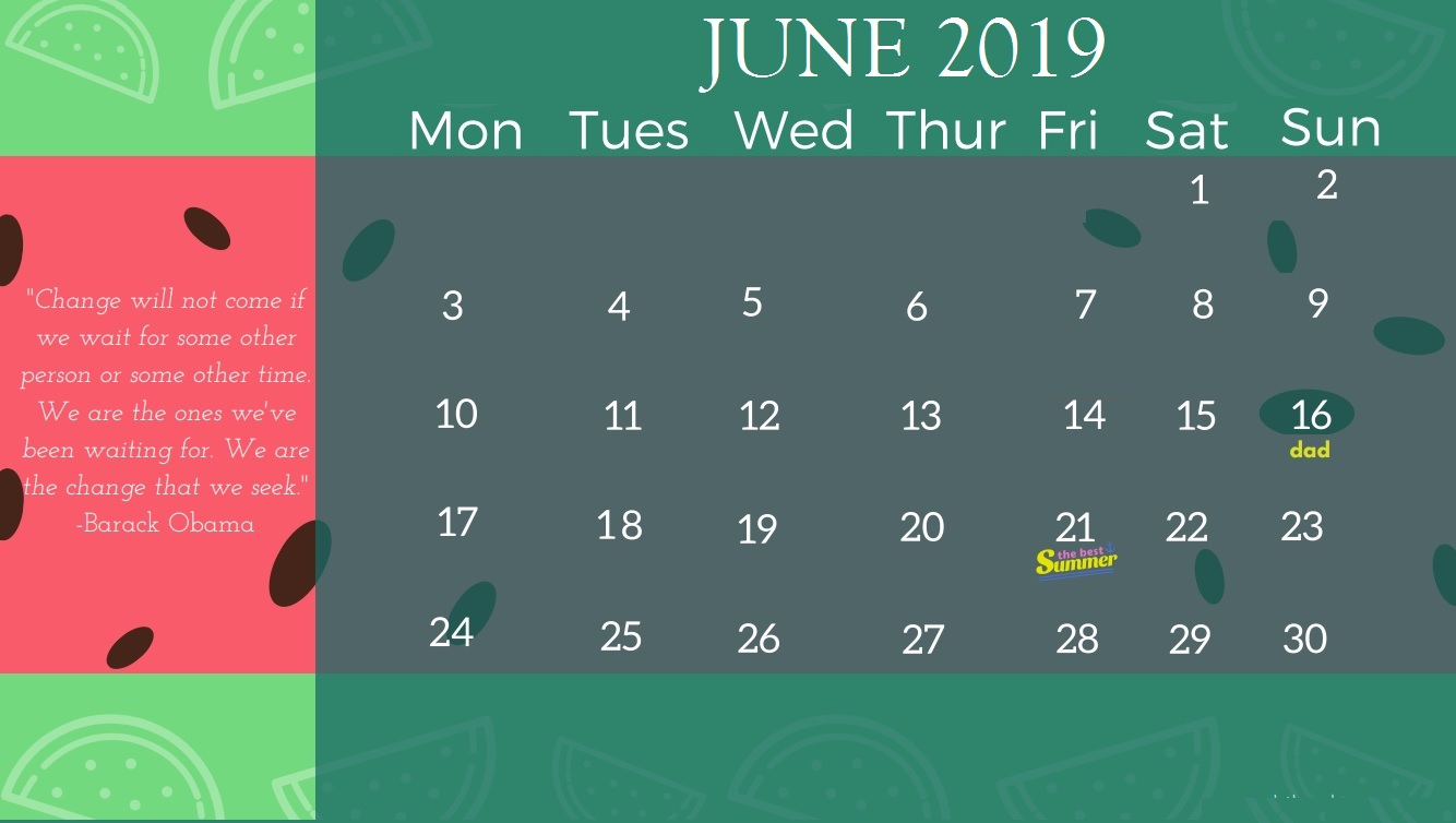 June 2019 Calendar For Office Desk